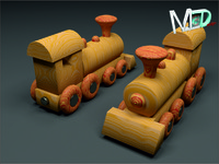3d max wood train locomotive