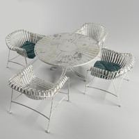 free wrought iron outdoor dining set 3d model