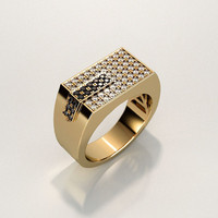 Mens ring with round gemstones 006