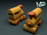 3d wood train locomotive