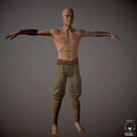 3d model battle monk