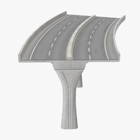 3d 2 lane raised highway model