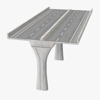 2 lane raised highway 3d model