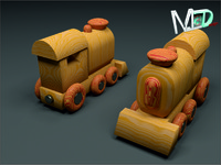 wood train locomotive 3d max