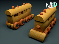 3d model wood train locomotive