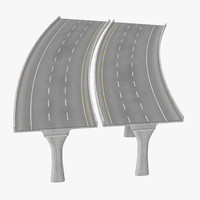 3d 3 lane raised highway model