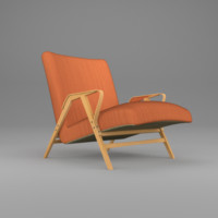 old style armchair orange obj