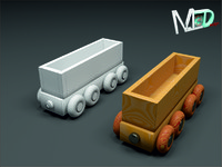 3d model wood train wagon t2v4