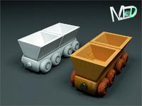 3d model wood train wagon t2v6
