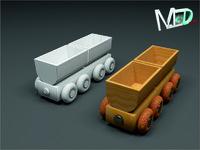 3d wood train wagon t2v8