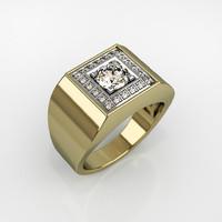 Mens ring with round gemstone 007
