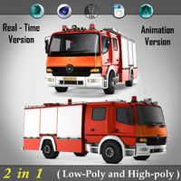 2 in 1 ( Low-Poly And High-Poly ) Mercedes Benz Atego fire truck