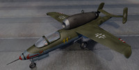 3d model heinkel he-162a jet fighter