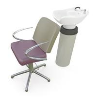 3d model salon wash station