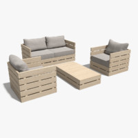 3d model wooden outdoor forniture set