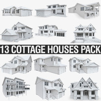 3d cottage houses model