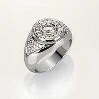 Mens ring with round gemstone 009
