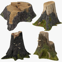 tree stumps 3d model