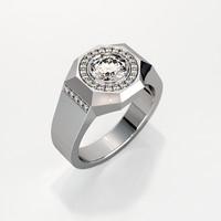 Mens ring with round gemstone 010