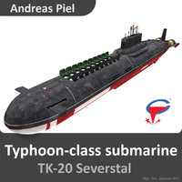 3d russian submarine severstal typhoon model