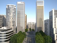 white city buildings 3d max