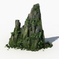 3d rock stone landscape moss model