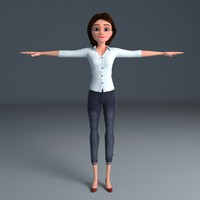 cartoon woman 3d model