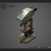 3d model microscope rusty old