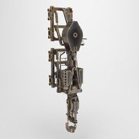 3d low-poly steampunk model
