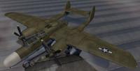 3d northrop black widow fighter aircraft