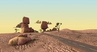 3d model desert road cartoon scene