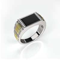 3ds men ring black onyx