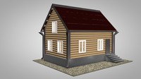 small house red roof 3d model