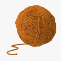 3d model yellow ball yarn