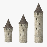 3d 3 turrets roof model