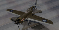 3d model of curtiss kittyhawk raaf fighter aircraft