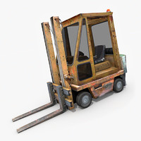 old forklift industrial 3d x