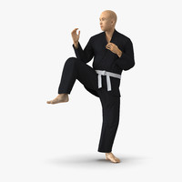 japanese karate fighter black 3d model