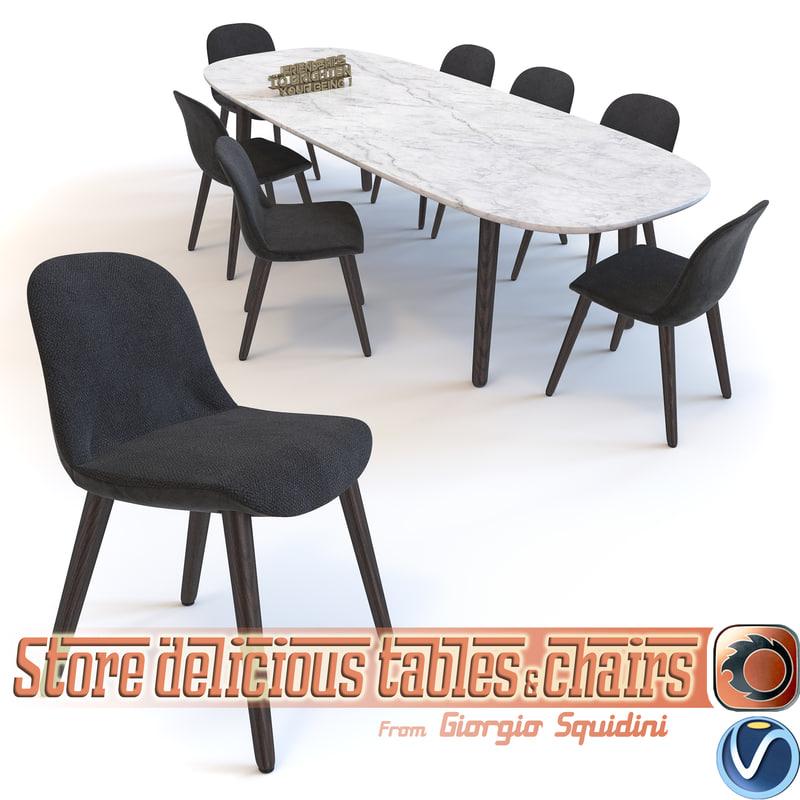 3d Chair Table Poliform Mad