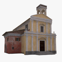 3d model of town church italian