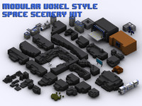 modular space scenery components obj