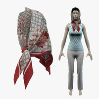 scarf gucci - shawl 3d model