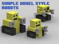 simple voxel-style robots voxel 3d model