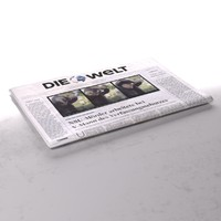 3d model of die welt newspaper folds