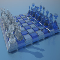 3d glass chess figures desk model