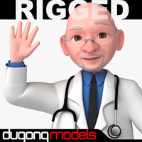 3d model dugm06 rigged cartoon doctor
