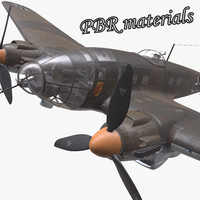 3d model he-111 german bomber