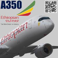 airbus a350-900 xwb ethiopian 3d model