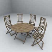 wood garden table and chairs