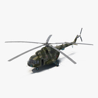 Mi-8 Hip Russian Millitary Medium Transport Helicopter Rigged